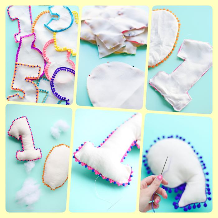 Dekokissen fürs Babyzimmer selber nähen, in Form von Zahlen, Anleitung in sechs Schritten