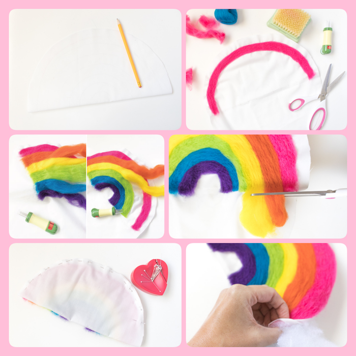 Dekokissen fürs Babyzimmer selber nähen, in Form von Regenbogen, Anleitung in sechs Schritten