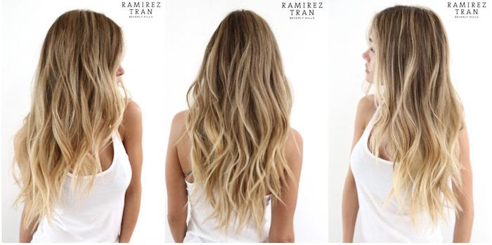 von hellbraunen zu blonden haaren ideen, lange haare trendy gestalten weißer top, fotos