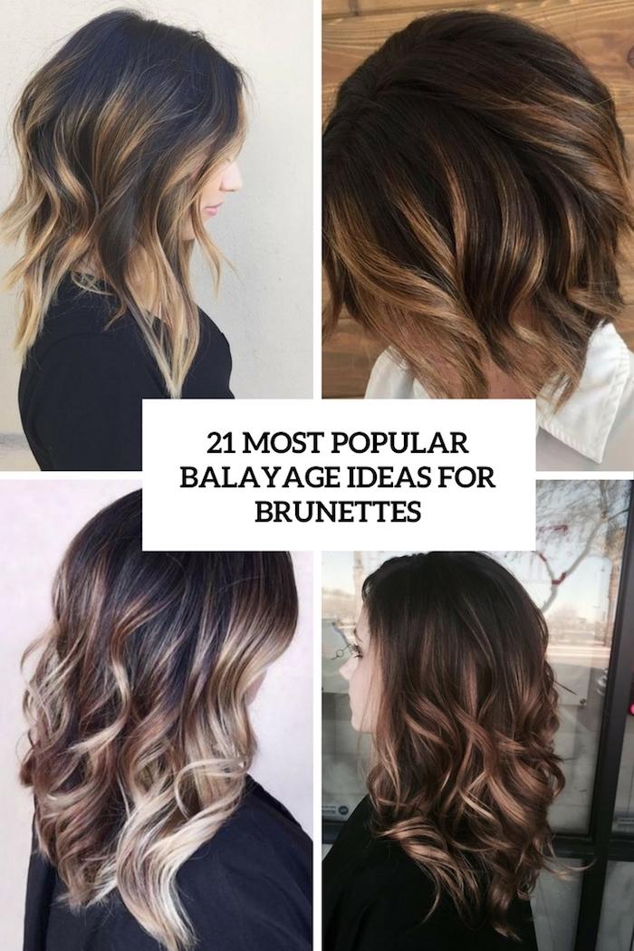 blonde strähnen in den dunklen haaren gestalten ideen für die damen, balayage mode