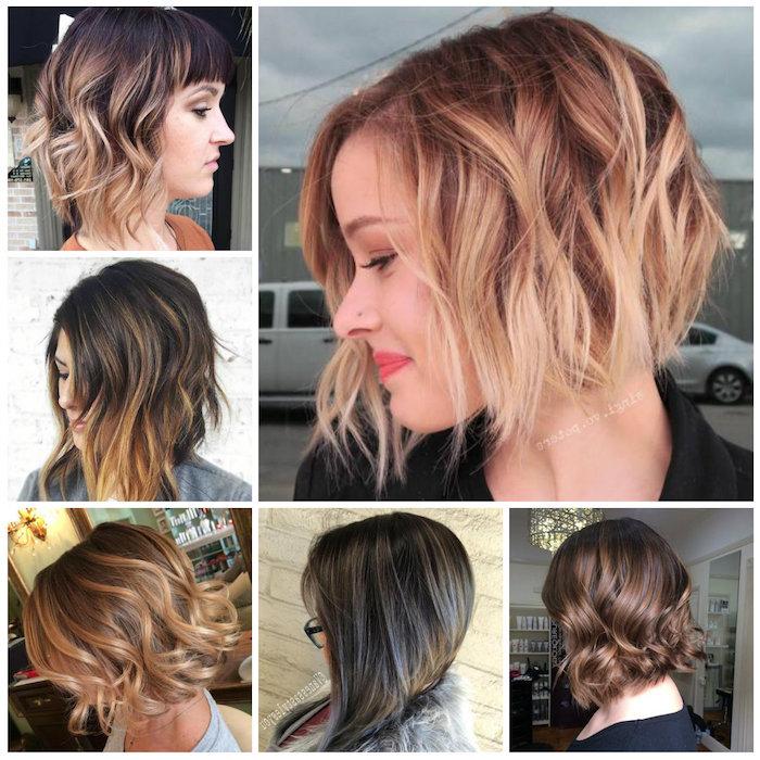 blonde strähnen in den haaren, trendy frisuren für damen, kurze bob haarschnitte mit blonden nuancen