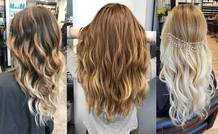 blonde strähnen in dem haar, drei ideen für lange haare, schöne frisuren, farbnuancen idee