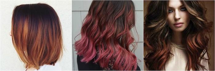 schulterlange haare, mittellanges haar, lange haare stylen rötliche nuancen, balayage braun collage