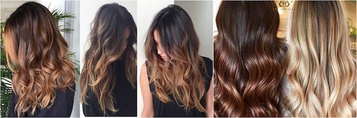 balayage braun in verschiedenen nuancen ideen für moderne damen blonde haare, kastanien farbe haare