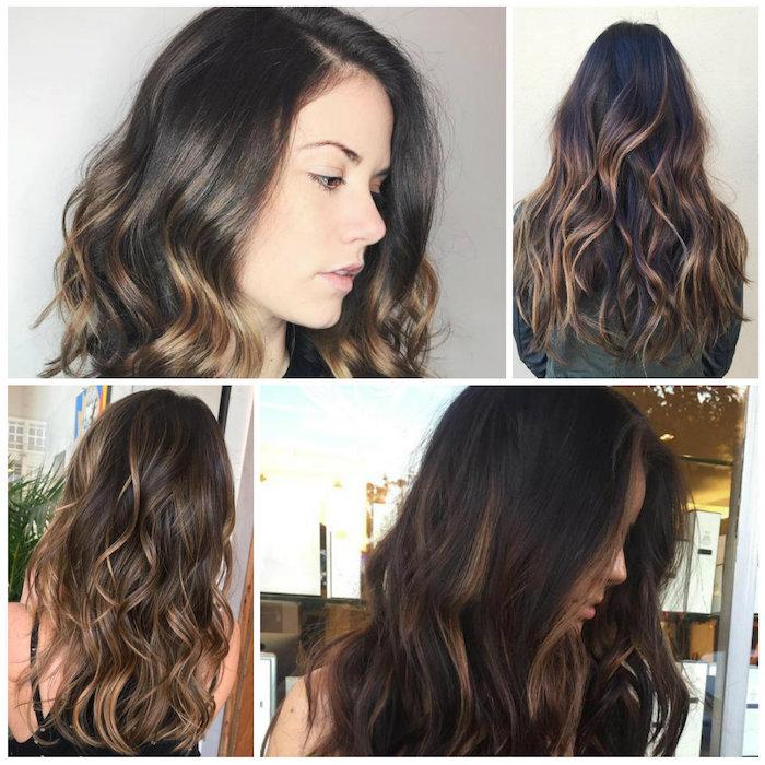 srähnchen in den haaren, collage mit vier bildern zum erstaunen, schöne frisuren von frauen