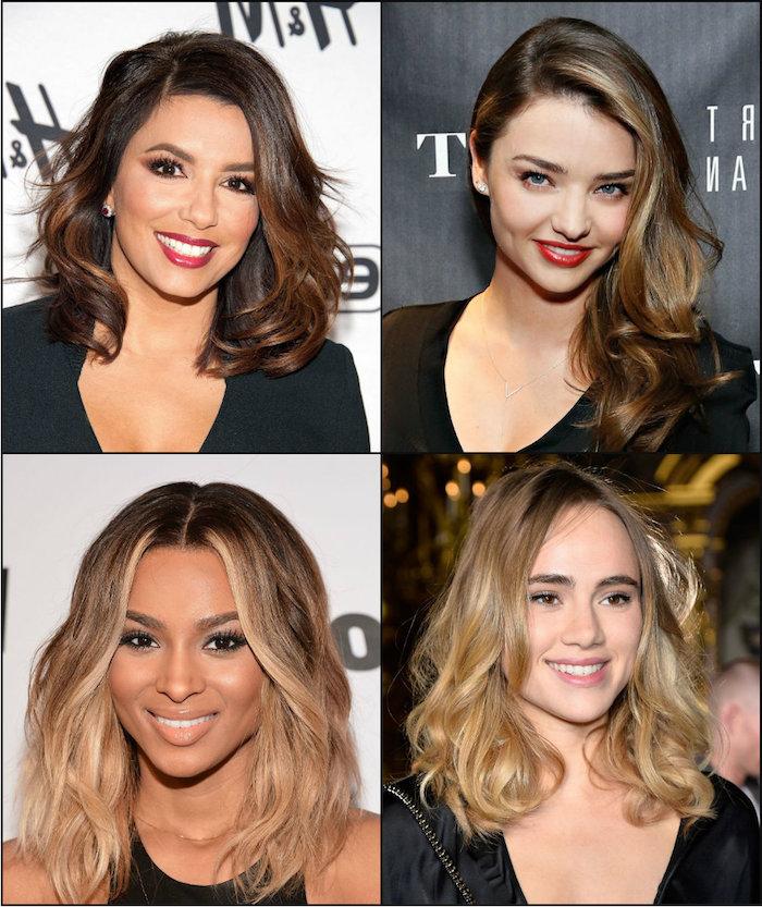 berühmte schauspielerinnen mit strähnhen in den haaren, moderne frisuren mit balayage