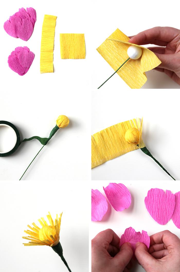 Blumen aus Krepppapier basteln, Anleitung in sechs Schritten, DIY Idee für Frühlingsdekoration