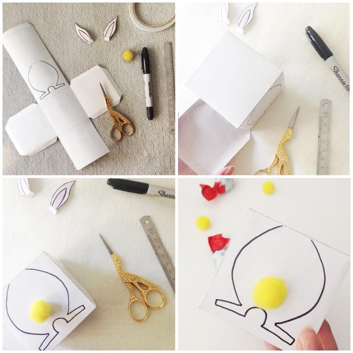 basteln ostern, box aus cardstock selber falten, diy anleitung, gelbe bommel, ostergeschenke