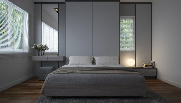 Schlafzimmer Grau Gestalten, Zwei Spiegel Und Eine Runde Lampe, Graues Bett