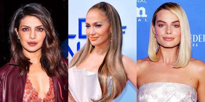 blond färben, jennifer lopez, schulterllange glatte haare, trendige haarschnitte für frauen, frauenfrisuren
