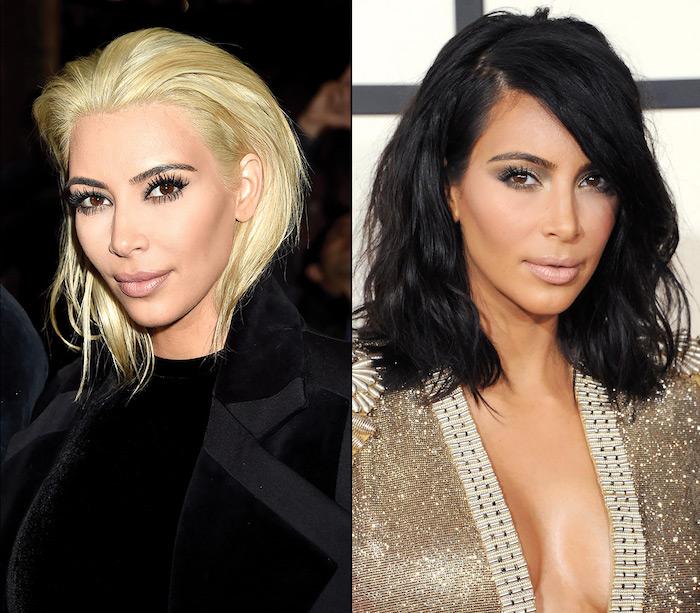 schwarze haare blond färben, kim kardashian, seitenscheitel, frisuren für ovales gesicht, trendife haarfarben