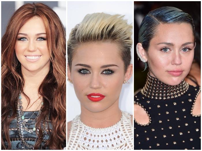rote haare blond färben, miley cirus, make up für grüne augen, blaue haare, kurzhaarfrisuren