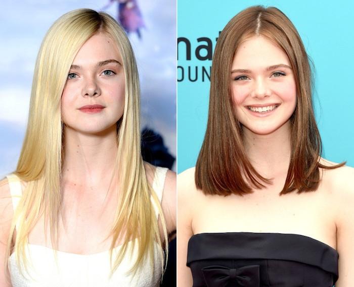 blond färben, lange blonde haare mit dunkelm ansatz, gerader schnitt, haarfarde wechseln