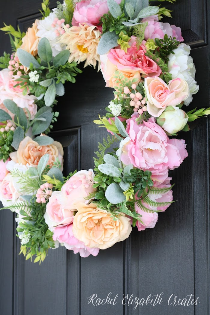 Türkranz aus echten Rosen, Frühlingsdeko für Ihre Haustür, leicht zum Nachmachen