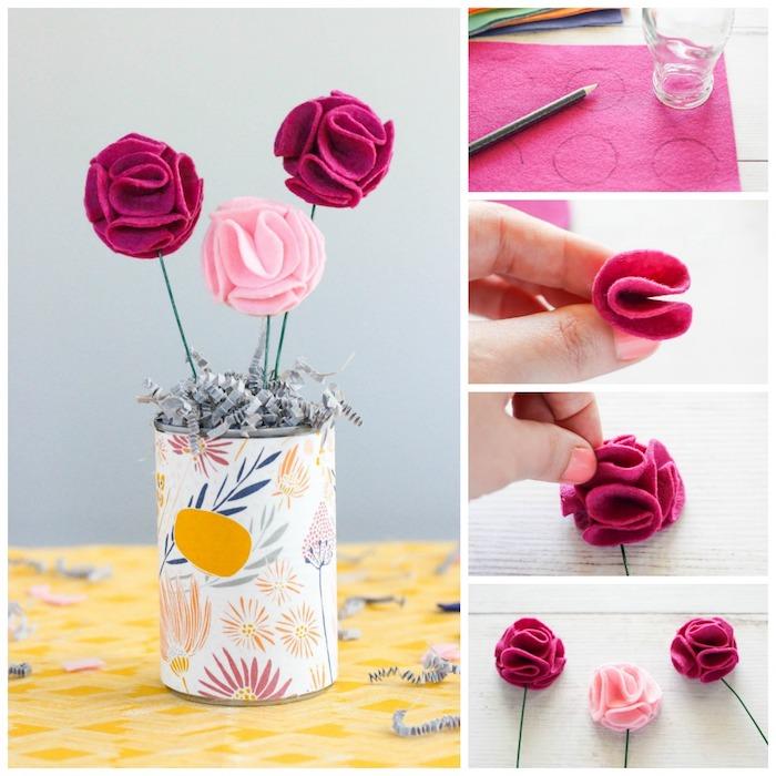 Blumen aus Filzstoff selber basteln, Anleitung in vier Schritten, kleiner Blumenstrauß in bunter Vase