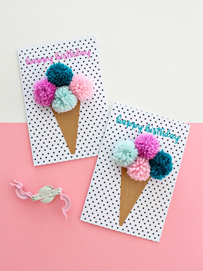 Originelle Geburtstagskarte selbst gemacht, Eis aus bunten Pompons, Geburtstag Ideen