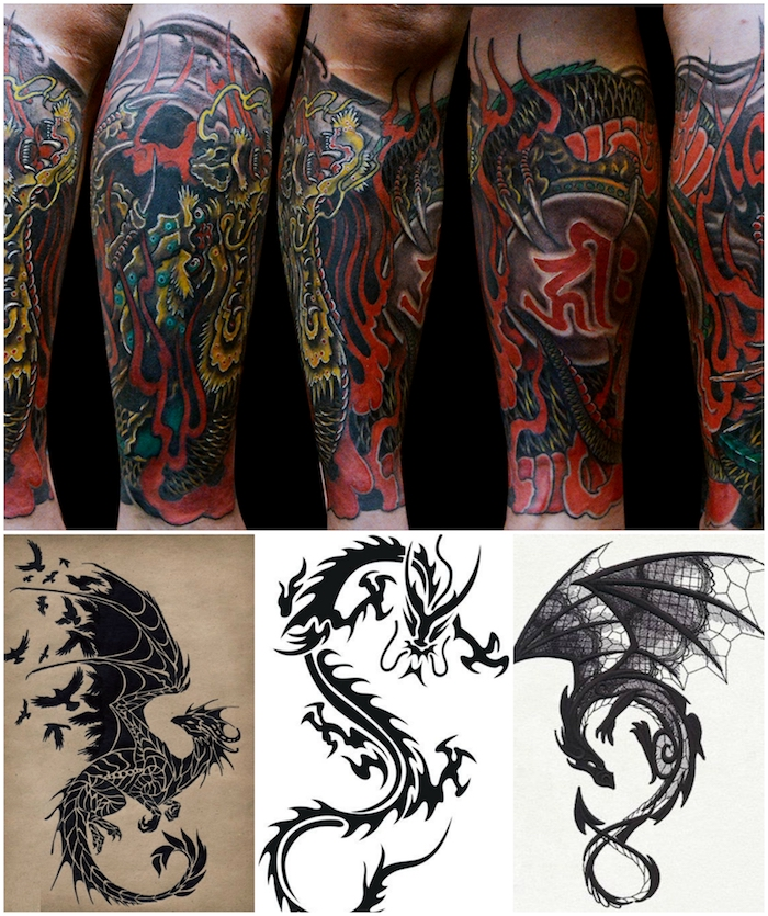 drachen tattoo arm vorlagen dragon skull arm tattoos. Black Bedroom Furniture Sets. Home Design Ideas