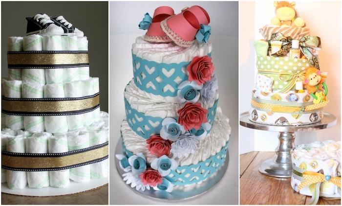 eine dristöckige torte aus vielen weißen wideln und mit blauen und rroten rosen und kleinen weißen herzen und pinken baby schuhen und blauen schleifen, eine windeltorte mit affen