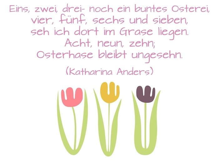 lustige osterbilder mit Spruch, bild mit drei gelben, pinken und violetten frühlingsblumen mit grünen blättern und einem kurzen osterspruch, ostergrüße lustig