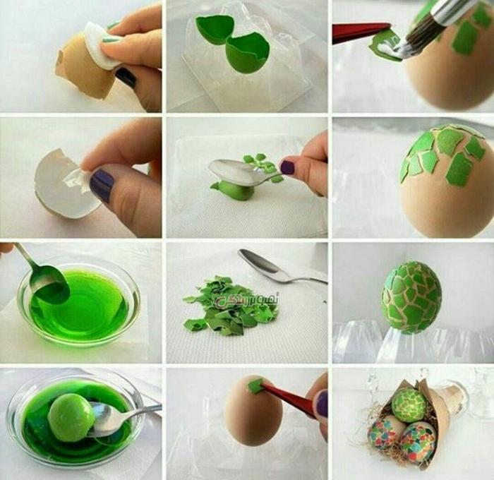 eier bemalen eier färben mit hausmitteln eierschalen verwenden grün mit eiweiß auf anderes ei aufkleben eier bemalen muster