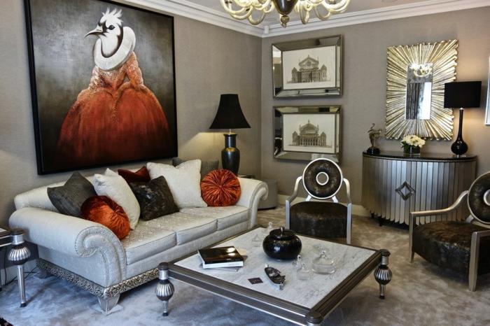 weißes Sofa, kleiner Couchtisch, eine schwarze Stehlampe, Wohnzimmer Ideen für kleine Räume