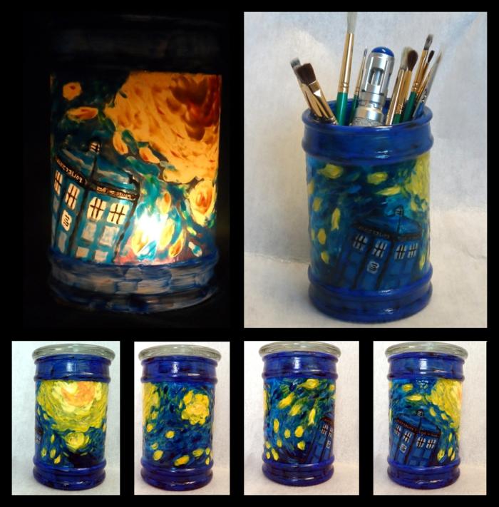 Gläser verzieren mit Thema von Doctor Who, ein bildschöner Stiftständer