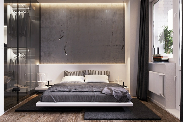 Schrank mit Spiegeltüren, Schlafzimmer grau, Laminat Boden, grauer Teppich