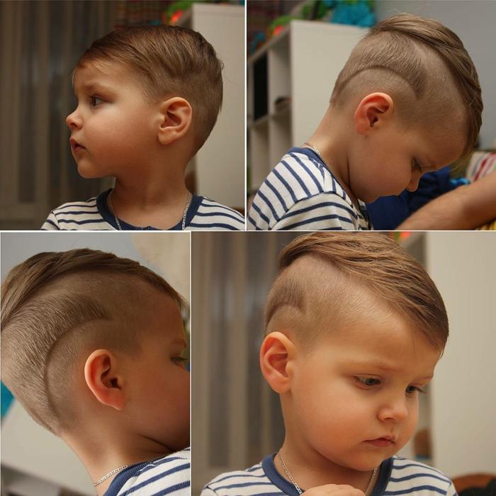 ein süßer Junge, Kinderfrisuren Jungs, eine Frisur in der Form von Welle