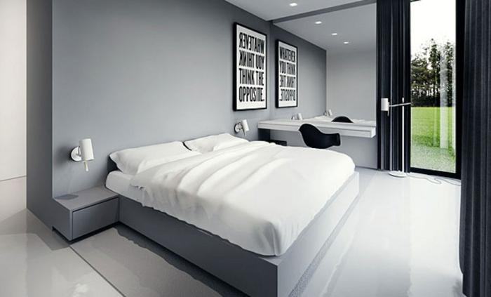 schlau Schlafzimmer einrichten, auf dem Bild an der Wand steht Denk kreativ
