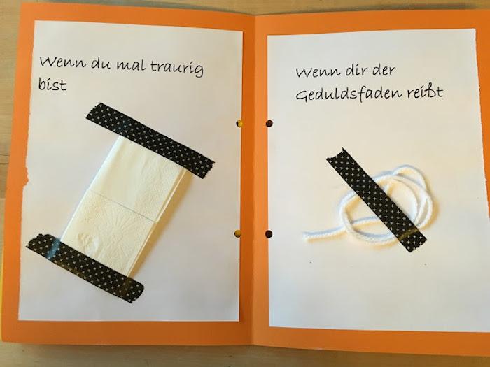 eine kleine weiße serviette, ein langer weißer faden, wenn buch einlleitzng, wenn buch sprüche