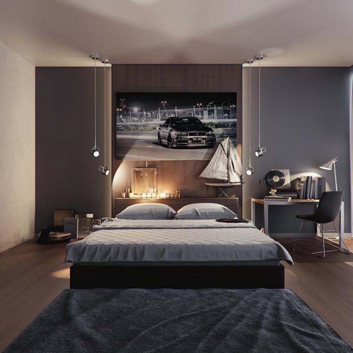 ein Bild von Auto an der Wand gehängt, hängende Lampen, grauer Teppich, Schlafzimmer einrichten