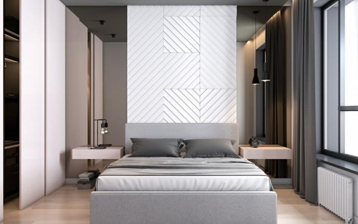 Zimmer einrichten, eine weiße Wand, zwei Spiegel, graue Vorhänge und Bettwäsche