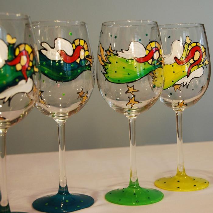 mit vier Schutzengeln vier Gläser verzieren, grüne, gelbe und blaue Kleider, rote Haare
