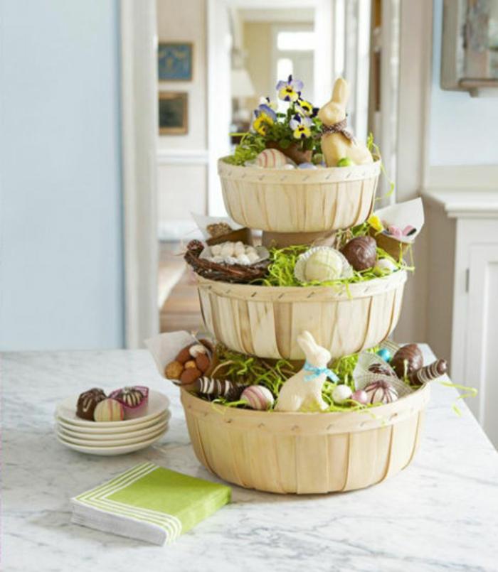 Osterkörbchen wie eine Torte auf einigen Etagen voller Hasen und Eierfiguren aus Schokolade