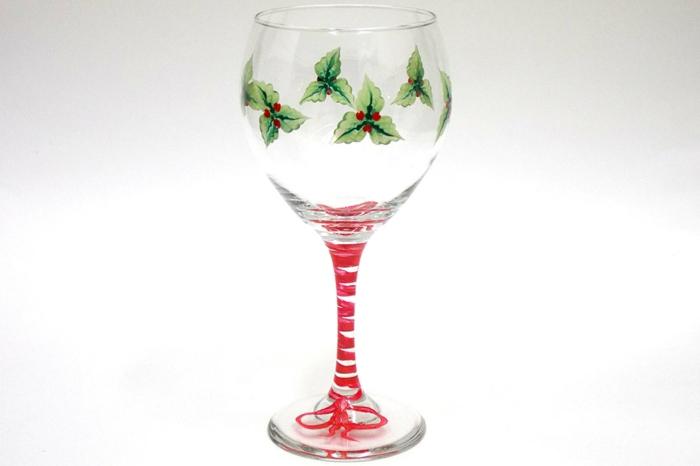 Glas malen, kleine Pflanzen, ein weihnachtliches Glas zu Heiligen Abend