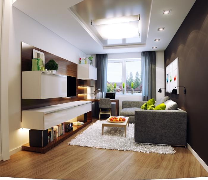 weißer Teppich, moderne Wohnwand, graues Sofa, kleine Wohnung einrichten