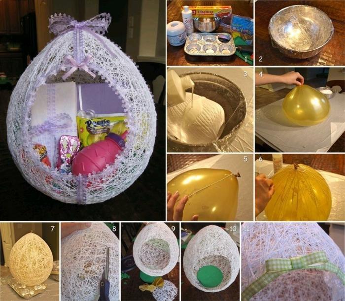 Ostern basteln, ein Körbchen mit Geschenken selber machen durch einen großen Ballon