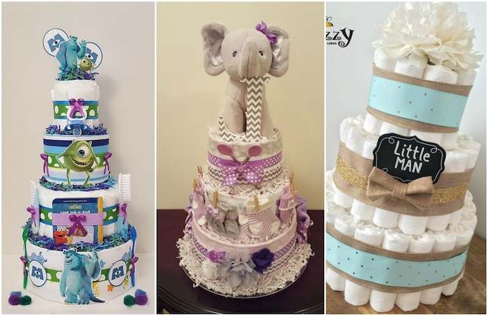 ein grauer elefant mit einer kleinen violetten schleife, eine dreistöckige torte aus vielen weißen windeln, eine windeltorte junge selber machen, drei bilder mit drei windeltorten mit blauen und grünen wesen und einer braunen fliegen