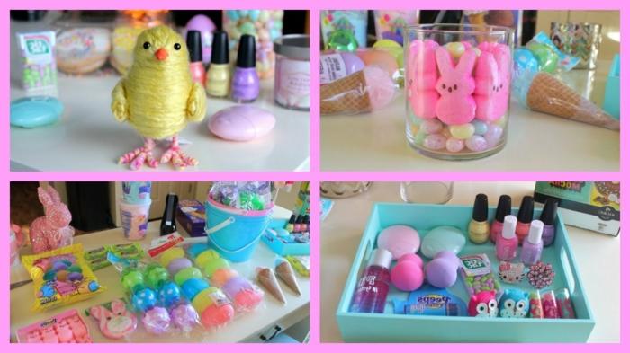 Ostern basteln, Küken, ein Weckglas mit rosa Hasen, Schminkzubehör, kleine Plastikgegenstände
