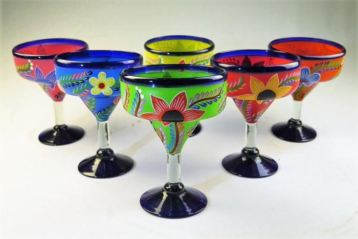 Tecilla Gläser, Gläser verzieren in mexikanischem Stil, verschiedene Farben