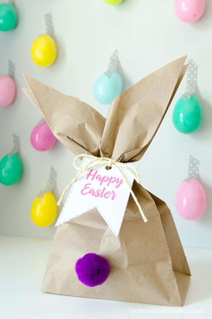 eine Einkaufstüte mit zwei Ohren und Frohe Ostern Anhänger, Ostern basteln