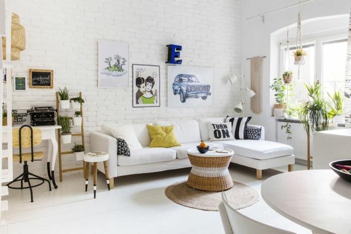 eine weiße Einrichtung, kleines Zimmer einrichten, vintage Posters, kleiner Büro