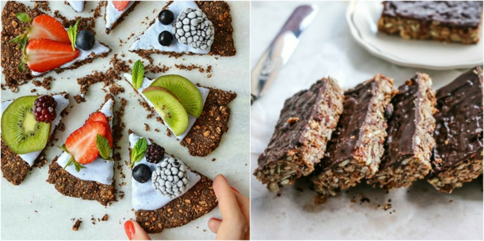 haferflocken riegel ideen, die man in form von torte oder minikuschen gestalten kann, frische früchte