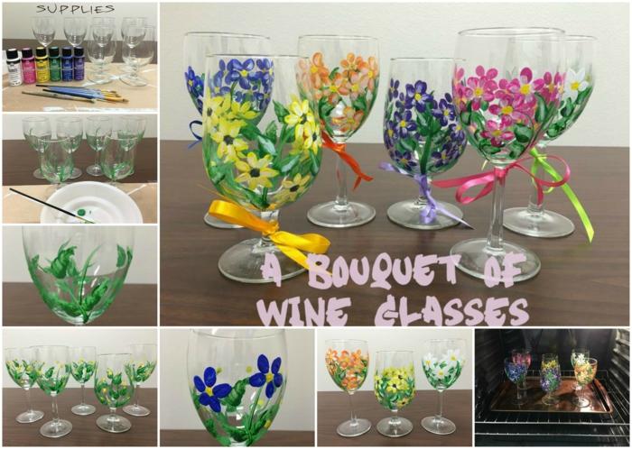 eine Schritt-für-Schritt Anleitung, wie Sie mit Frühlingsblumen Glas bemalen