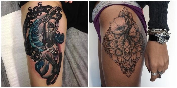 Frauen oberschenkel tattoo Tattoo Oberschenkel