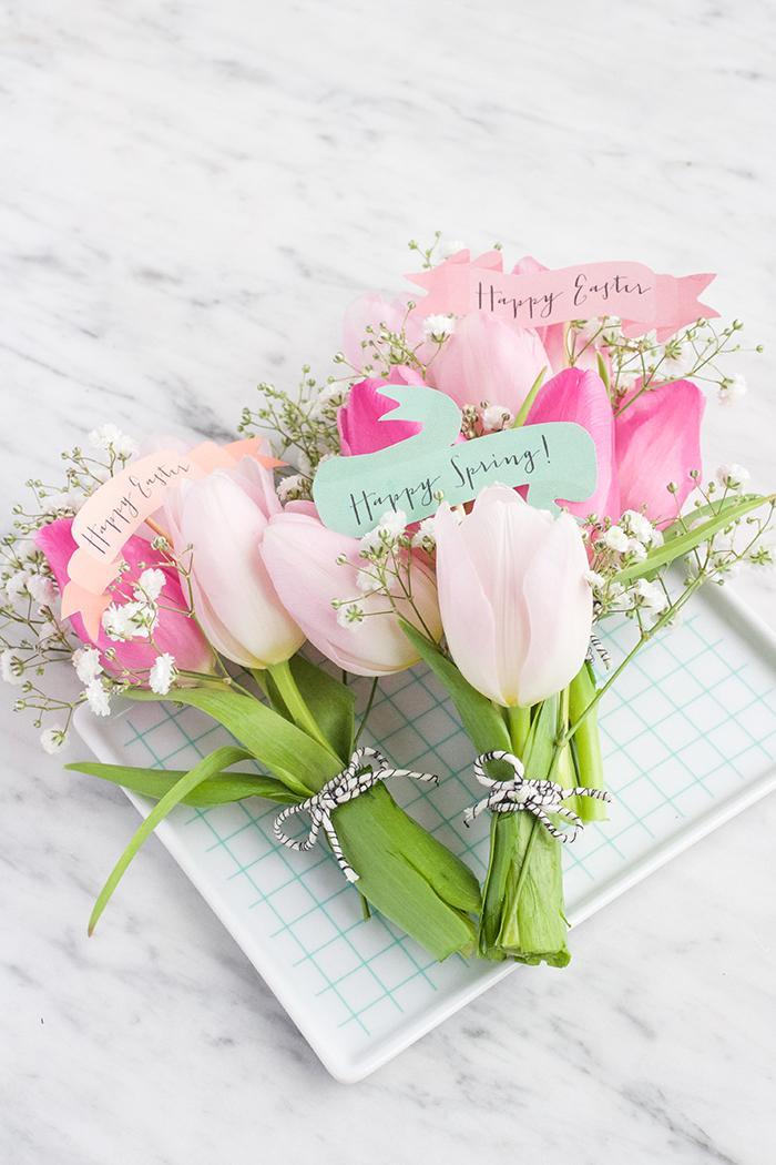 Kleine Tulpensträuße mit Grußkarten, Idee für Frühlingsdeko oder Geschenk für Ihre Lieben