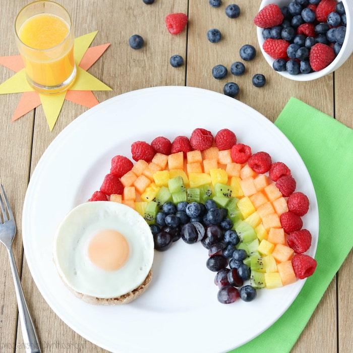 frühstücksideen gesund, obst in den farben des regenbogens, gesund frühstücken, vitaminreiches essen