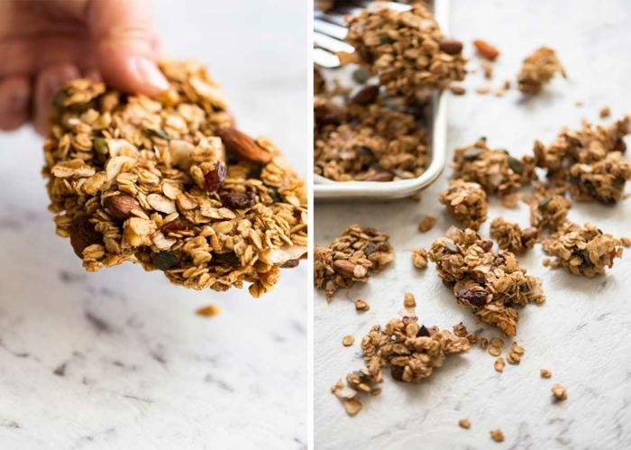 müsliriegel selber machen ohne zucker, mischung zubereiten, kekse formen oder quadratische stücke, gesunde rezepte
