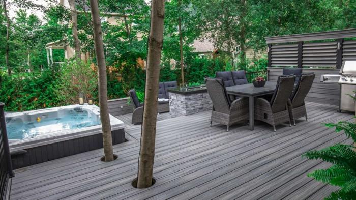 diy garten, graue terrasse in einem grünen garten, kontraste effektvolle ideen