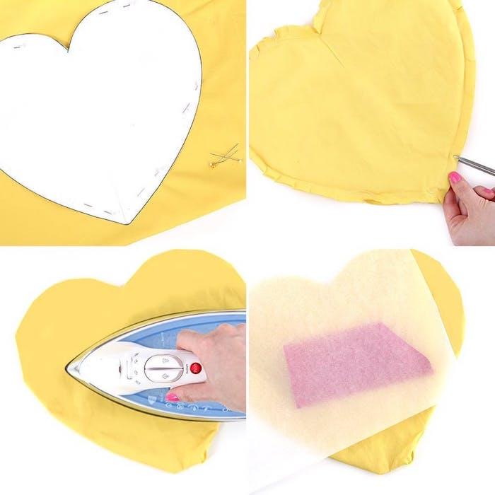Gelbes Herz Kissen selber nähen, Schritt für Schritt Anleitung für originelles Geurtstagsgeschenk